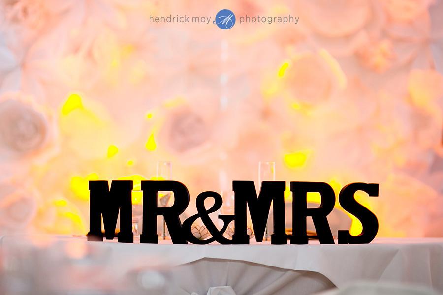 Glen Ridge NJ wedding photographer mr mrs table sign