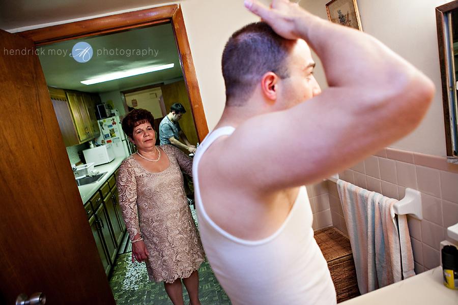 NJ-Wedding-Photographer-Hendrick-Moy-mom-watching-groom-get-ready