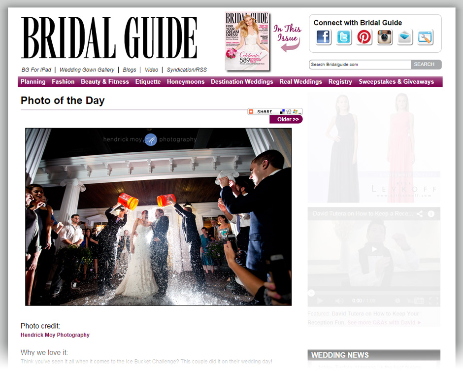 ALS ice bucket challenge wedding day photography hendrick moy FEATURED ON BRIDAL GUIDE | HUDSON VALLEY WEDDING PHOTOGRAPHER