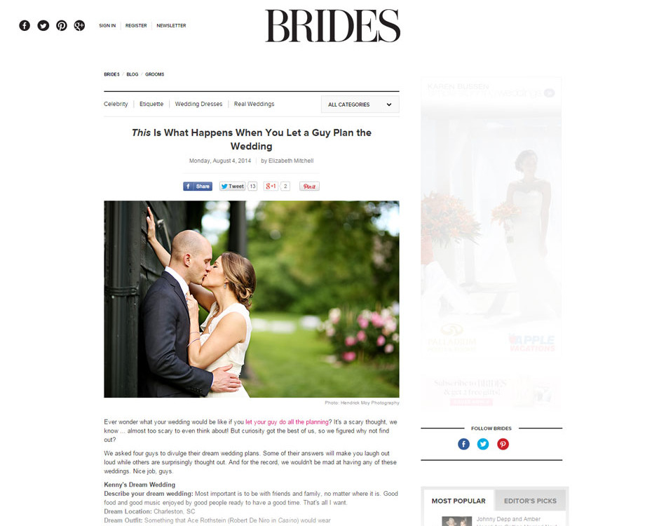 wedding photographer featured in brides magazine