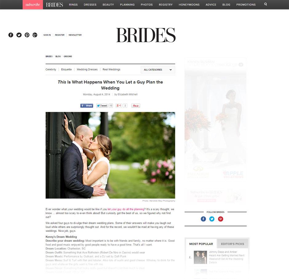 wedding photographer featured in brides magazine