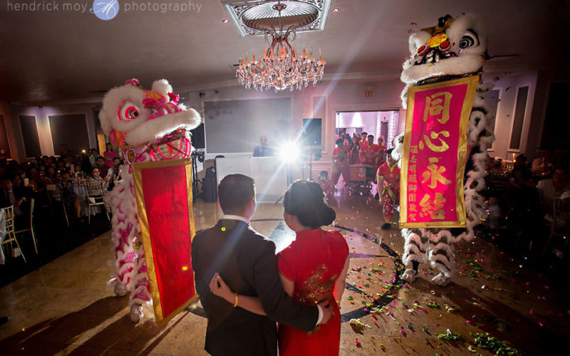 wedding waterside catering traditional chinese lion dance