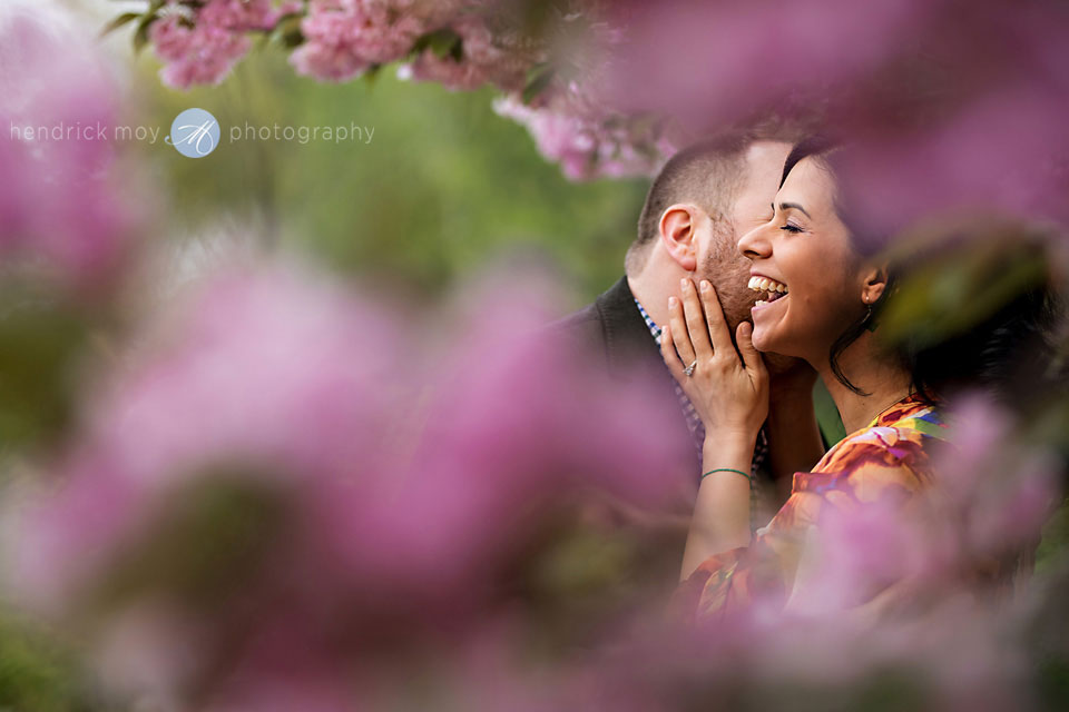 cherry blossoms spring engagement central park
