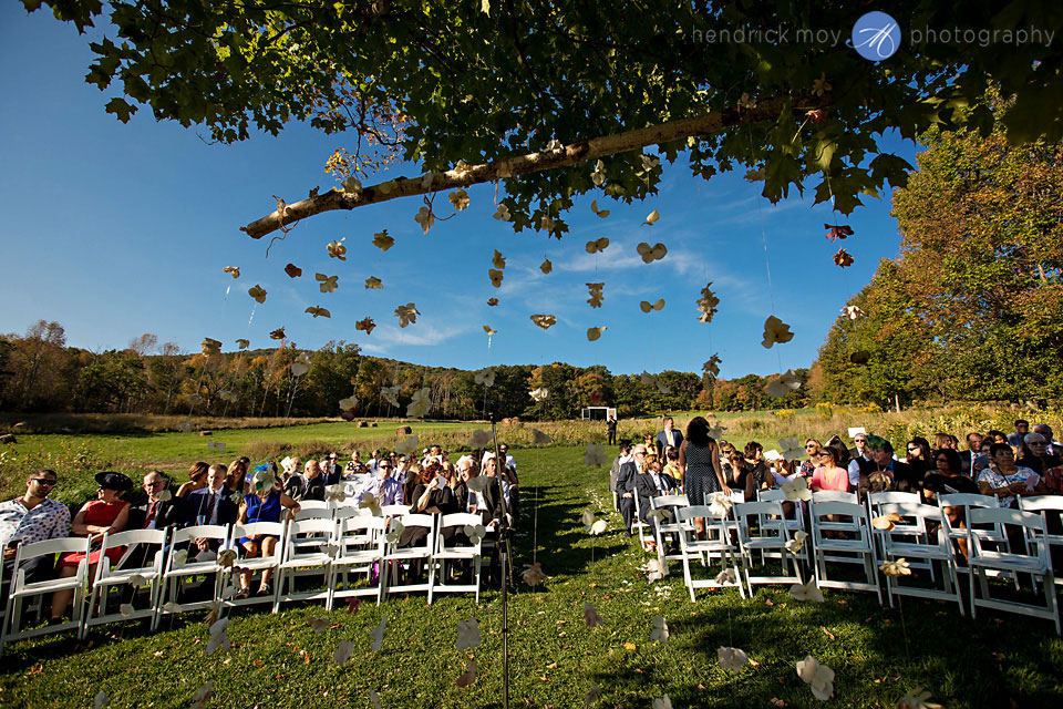 outdoor wedding ceremony stone tavern farm